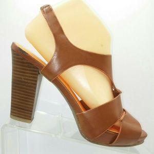 Kenneth Cole Brown Slingback Sandal Pumps 8.5